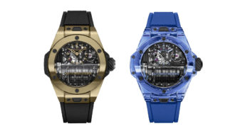Hublot has created two bold new takes on its masculine Big Bang MP-11 in Magic Gold and Blue Sapphire.