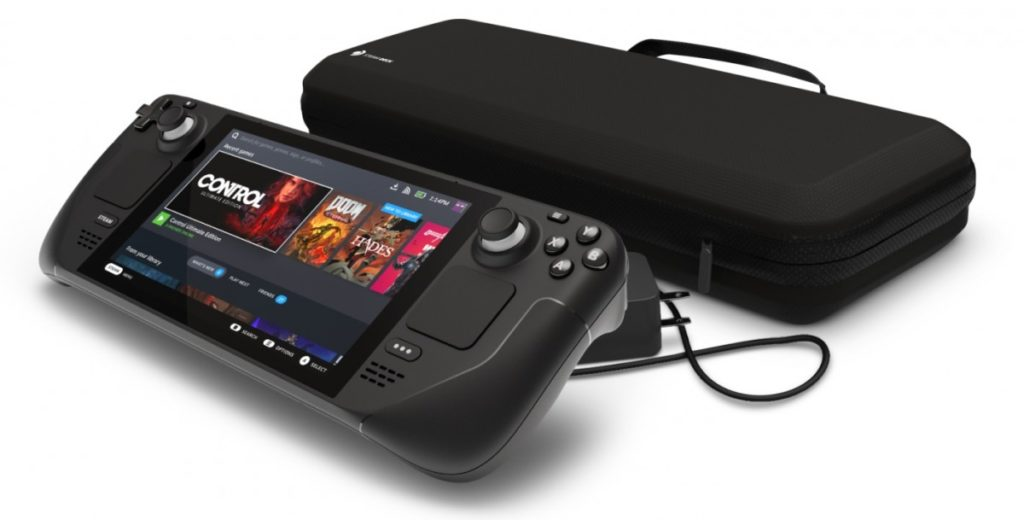 The new Steam Deck portable gaming console combines cutting-edge technology with a user-friendly design.